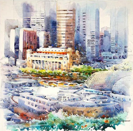 Singapore City Skyline Painting