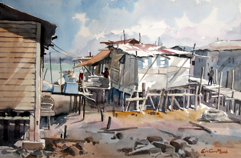 Penang Singapore Malaysia fishing villages Watercolour