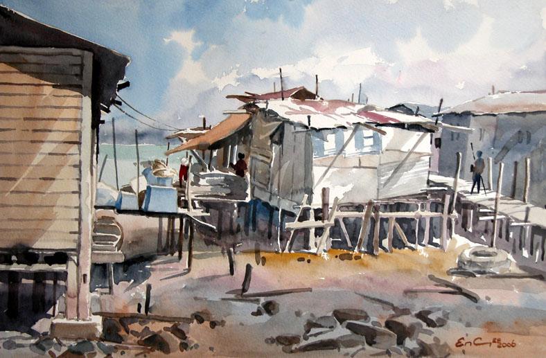 Malaysia Fishing Hut painting