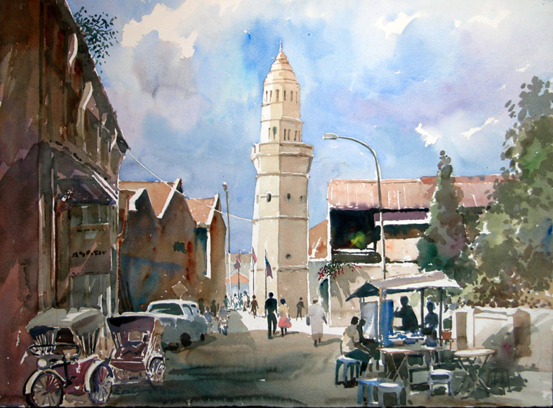 Acheen Street Mosque, Penang Watercolor by Khor Ean Ghee
