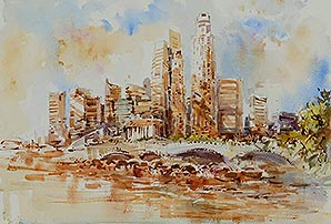 Singapore Singapore Raffles Hotel Watercolour Painting Affordable Art Show