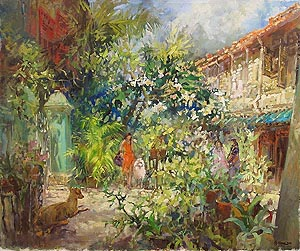 Blair Road Kampung Kampong Bahru Singapore Watercolor Painting