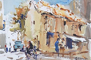 Singapore Boon Tat Street Chinatown Market Affordable Artwork Watercolour Painting