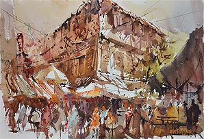 Singapore Affordable Art Fair, Chinatown Watercolor Painting by Ng Woon Lam nws aws
