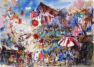 Chinatown Temple Street Impression Singapore Watercolor Ng Woon Lam nws aws
