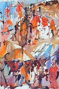 Chinatown Temple Street Market Watercolour Painting Affordable Art Show