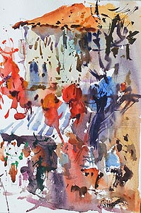 Singapore Temple Street Chinatown Market Affordable Artwork Watercolour Painting