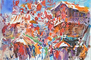 Chinatown Temple Street Watercolour Painting Affordable Art Show