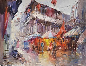 Chinatown Temple Street Watercolor Painting by Ng Woon Lam