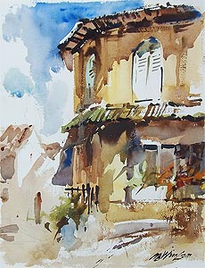 Singapore Club Street Watercolor Painting