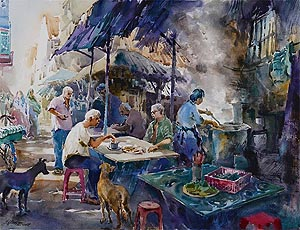 Singapore Watercolour Oil Painting Ng Woon Lam nws awsdf df