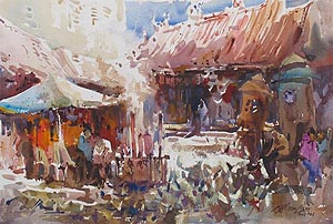 Guang Yin Goddess Temple en Plein Air Penang Singapore Watercolor Painting