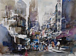 Hong Kong Impression Singapore Watercolour
