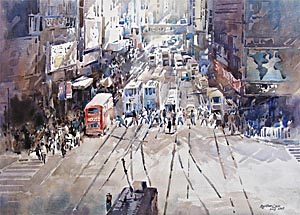 Hong Kong Lunch Hour Watercolor Ng Woon Lam NWS AWS