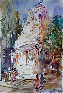 Singapore Indian Temple South Bridge Road Watercolor Painting
