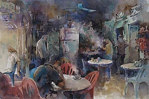 Little India Coffee Moment, Watercolor Painting by Ng Woon Lam