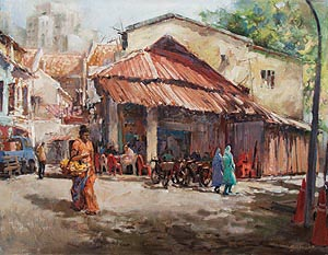 Singapore Little India Oil Painting
