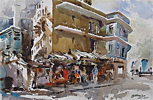 Rotan Lane Little India Singapore Watercolour