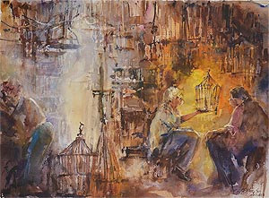 Builders in the Chaos Watercolor by Ng Woon Lam