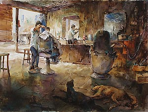 Men and Dogs Watercolor Painting by Ng Woon Lam