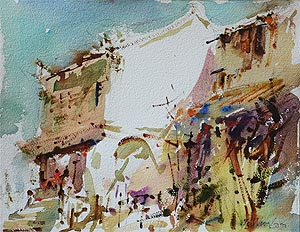 Singapore Mohamed Sultan Old Shop Houses Watercolour Painting