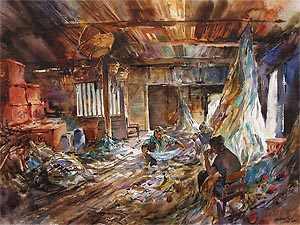 Indonesia Fishing Village Ng Woon Lam watercolor nws aws