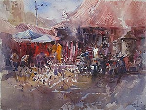 Goddess Guang Yin Temple Penang en Plein Air Singapore Watercolor Painting