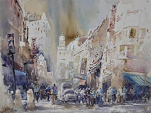 Chulia Street en Plein Air Penang Watercolor Painting by Ng Woon Lam