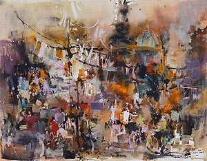 Piccadilly Circus, London  Abstraction Watercolour Painting Ng Woon Lam nws aws