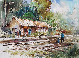 Singapore Bukit Timah Railway Station Watercolour Ng Woon Lam nws aws