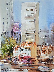 Singapore River Boat Quay Watercolour Painting Affordable Art Fair