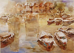 Singapore River Baot Quay Watercolor Painting  and Reflections