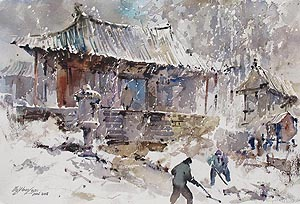 Korea Sorak Mountain Snow Storm Singapore Watercolor Painting