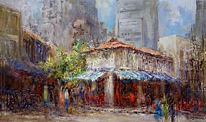 Singapore Chinatown Market Oil Painting