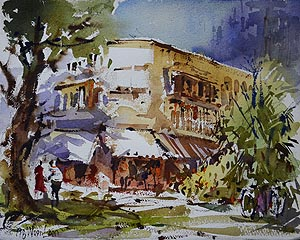 Tiong Bahru Shop Houses Watercolor Painting