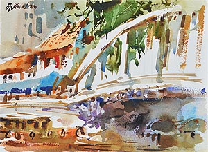 Singapore River Skyline Explanade Affordable Artwork Watercolour Painting