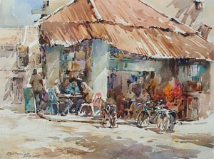 Morning Chat Little India Singapore Watercolor Painting Ng Woon Lam