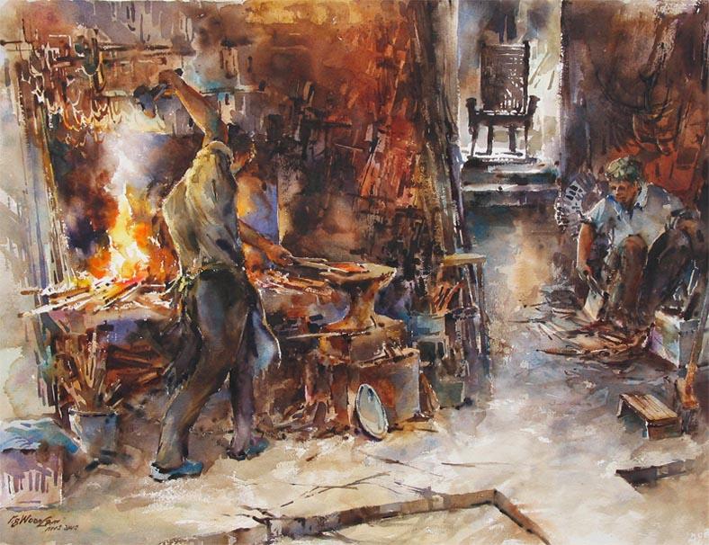 Ng Woon Lam NWS AWS Singpaore Watercolor Painting