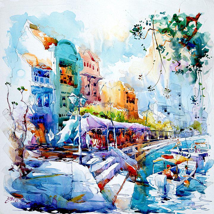 Singapore River Boat Quay Painting Jack Tia Kee Woon