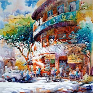 Tia Kee Woon, Singapore Arylic Painting, Little India