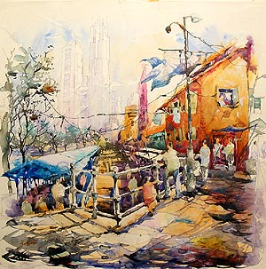 Singapore River Boat Quay Acrylic Painting Jack Tia Kee Woon