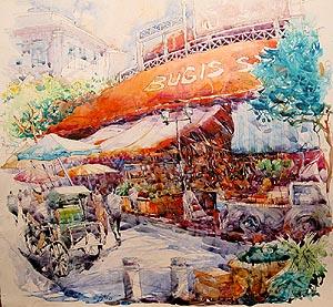 Singapore Bugis Market Acrylic Painting Jack Tia Kee Woon