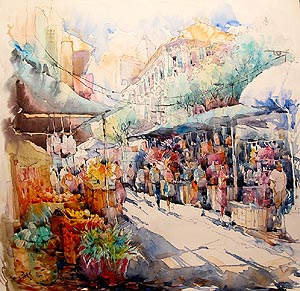 Singapore Chinatown Market Acrylic Painting Jack Tia Kee Woon