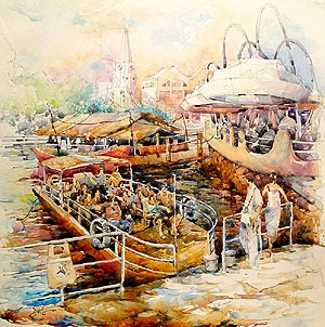 Singapore Clarke Quay Boat Ride Trip Acrylic Painting Jack Tia Kee Woon