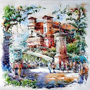 Singapore Fullerton Hotel Painting Jack Tia Kee Woon