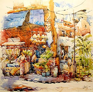 Singapore Little India Morning Market Acrylic Painting Jack Tia Kee Woon