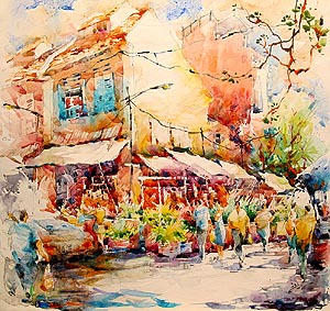 Singapore Little India Acrylic Painting Jack Tia Kee Woon