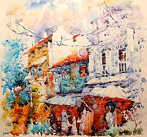 Singapore Old Shop Houses Acrylic Painting Jack Tia Kee Woon