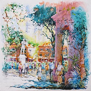 Singapore River Raffles Statue Painting Jack Tia Kee Woon