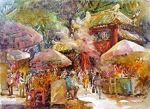 Singapore Europe China Bali artworks oil watercolour paintings